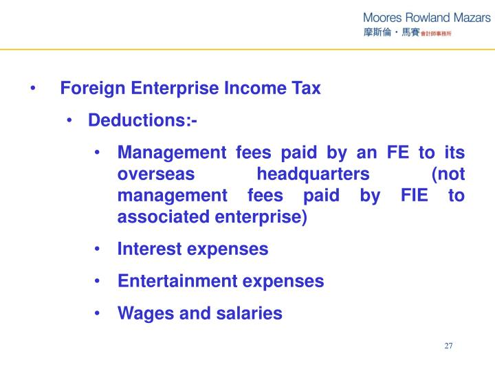 Foreign Enterprise Income Tax