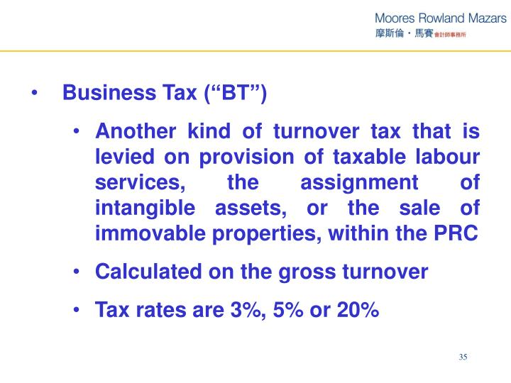 "Business Tax (""BT"")"