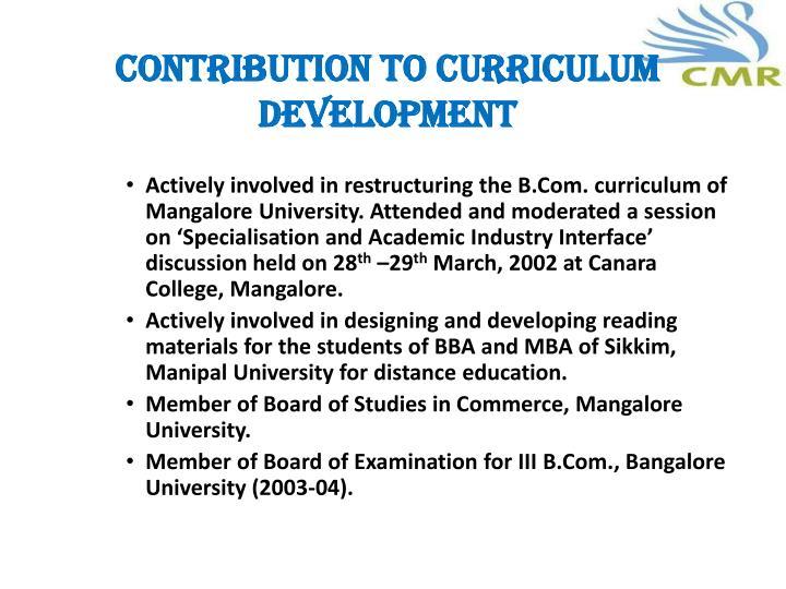 Contribution to Curriculum development