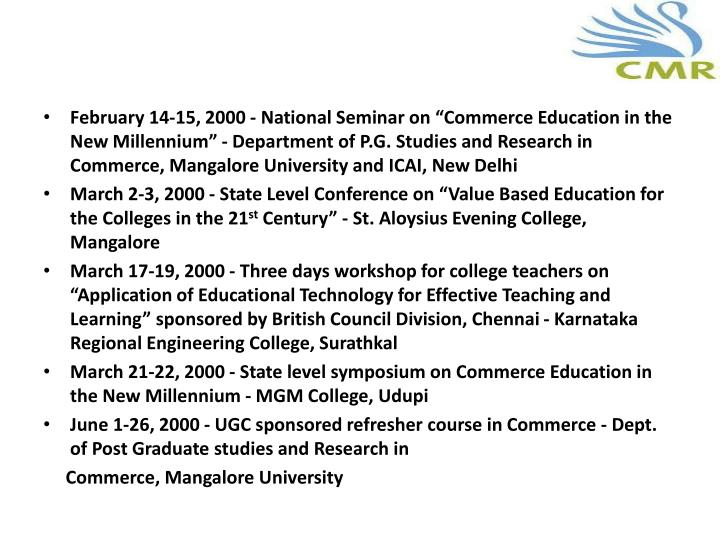 "February 14-15, 2000 - National Seminar on ""Commerce Education in the New Millennium"""