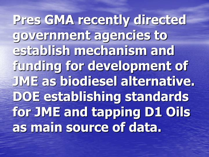 Pres GMA recently directed government agencies to establish mechanism and funding for development of JME as biodiesel alternative.