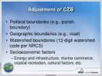 adjustment of czb