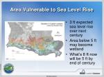 area vulnerable to sea level rise