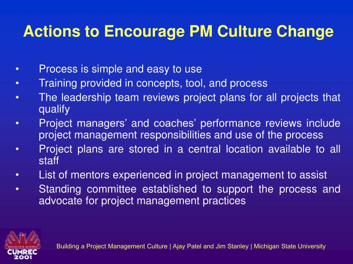 Actions to Encourage PM Culture Change