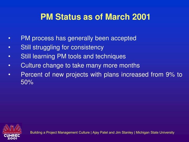 PM Status as of March 2001