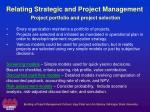 relating strategic and project management project portfolio and project selection