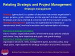 relating strategic and project management strategic management