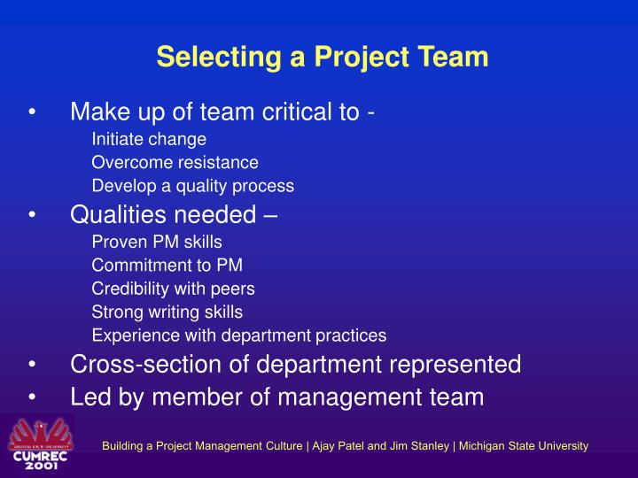 Selecting a Project Team