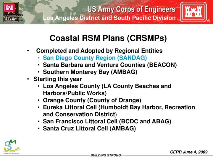 Coastal RSM Plans (CRSMPs)