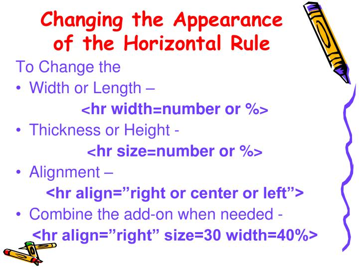 Changing the Appearance of the Horizontal Rule