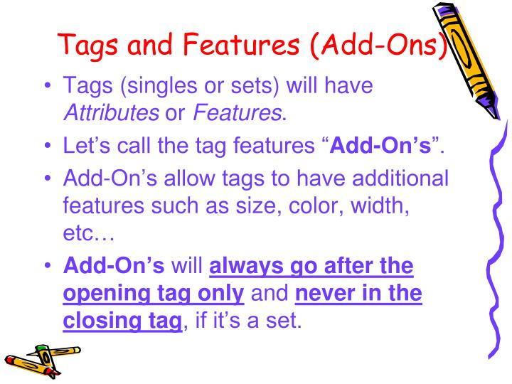 Tags and Features (Add-Ons)