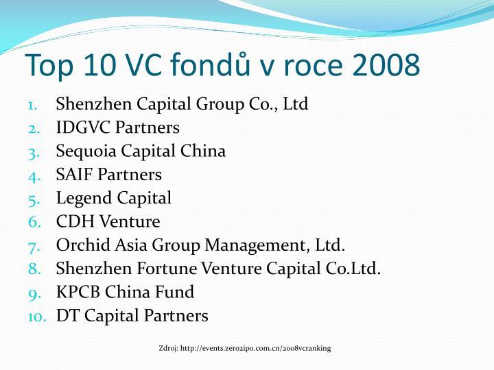 Top 10 VC fondů v roce 2008
