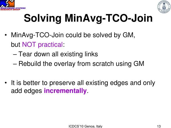 Solving MinAvg-TCO-Join