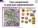 two components in pub sub implementation