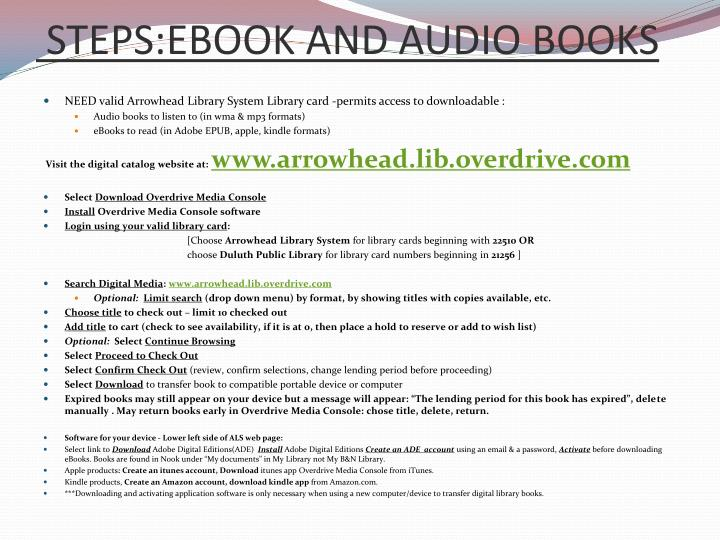 STEPS:EBOOK AND AUDIO BOOKS