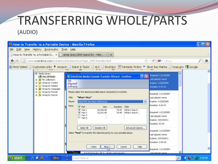TRANSFERRING WHOLE/PARTS