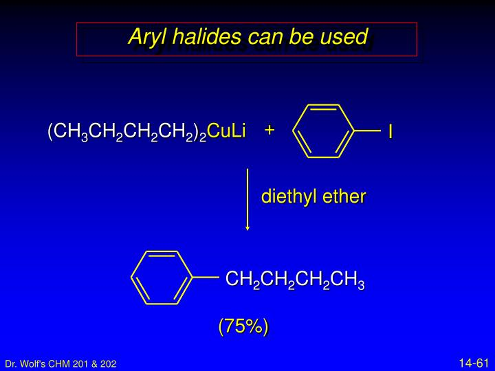 Aryl halides can be used