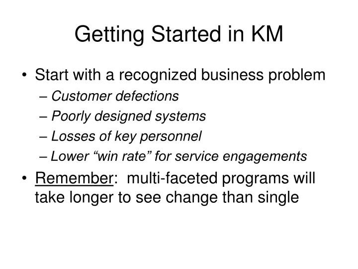 Getting Started in KM