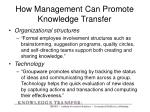 how management can promote knowledge transfer1