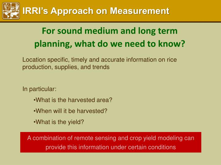 IRRI's Approach on Measurement