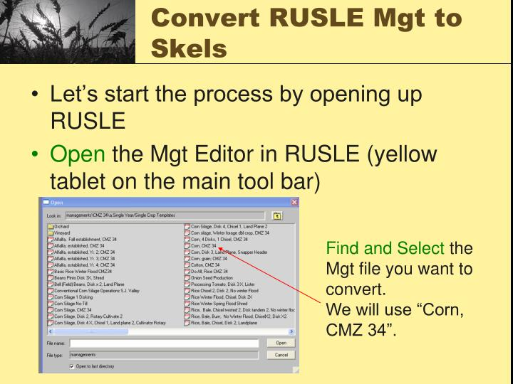 Convert RUSLE Mgt to  Skels