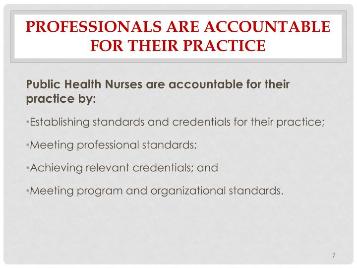 Professionals are Accountable for their Practice