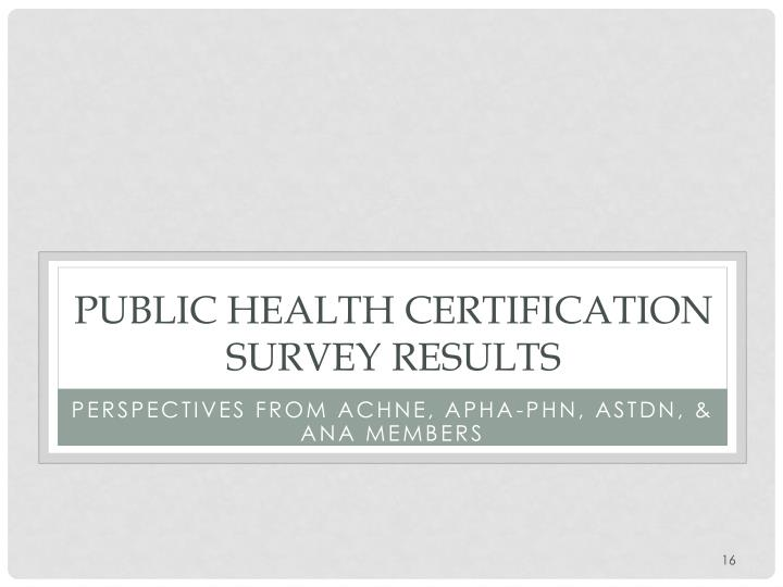 Public health Certification Survey Results