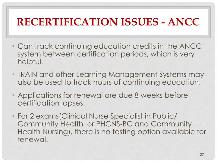 Recertification Issues -