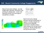 cne recent community college engagements