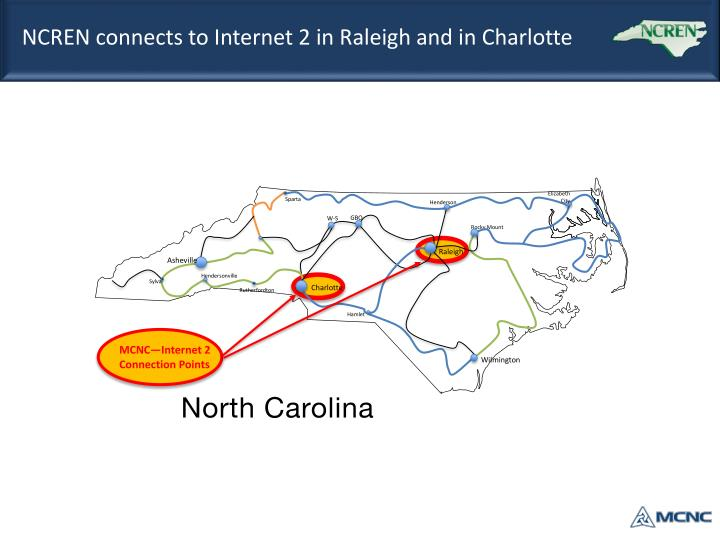 NCREN connects to Internet 2 in Raleigh and in Charlotte
