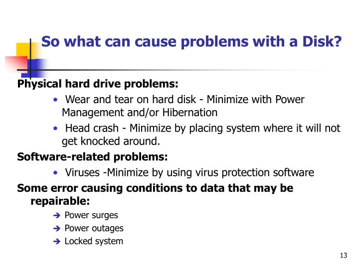 So what can cause problems with a Disk?