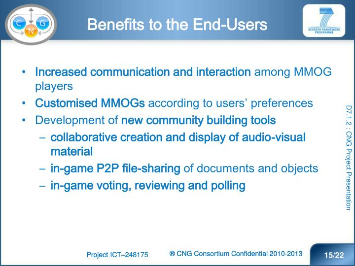 Benefits to the End-Users