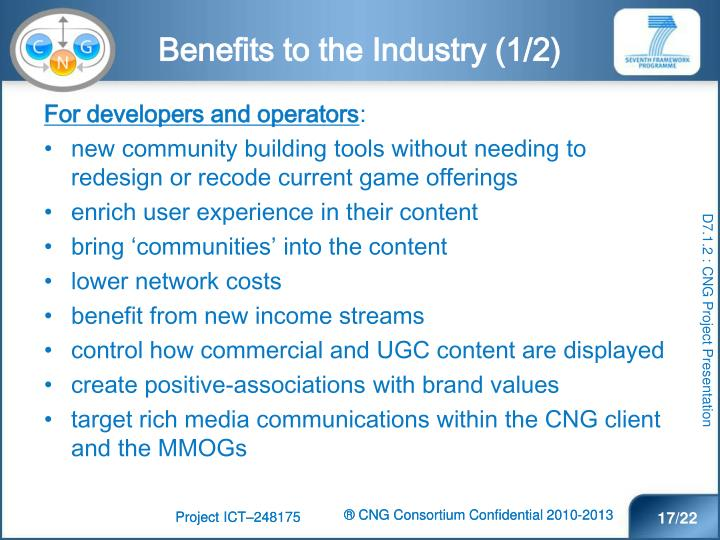 Benefits to the Industry (1/2)