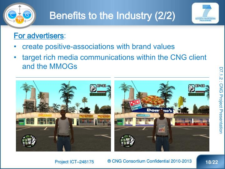 Benefits to the Industry (2/2)