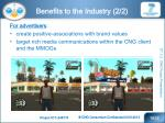 benefits to the industry 2 2