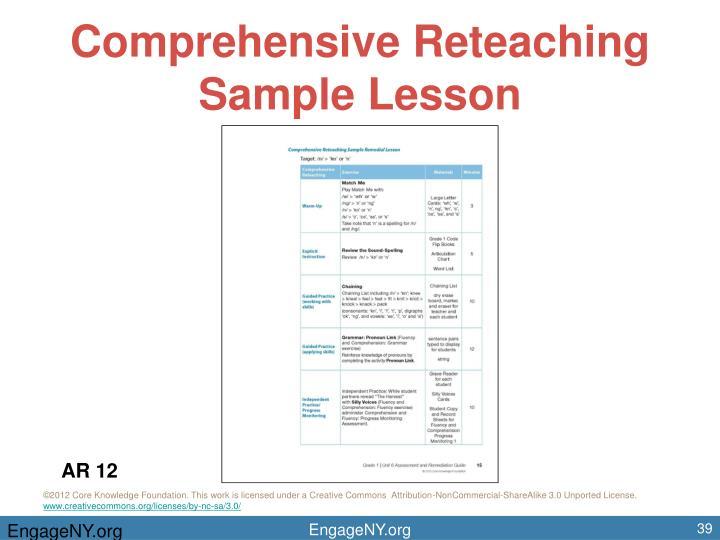 Comprehensive Reteaching Sample Lesson