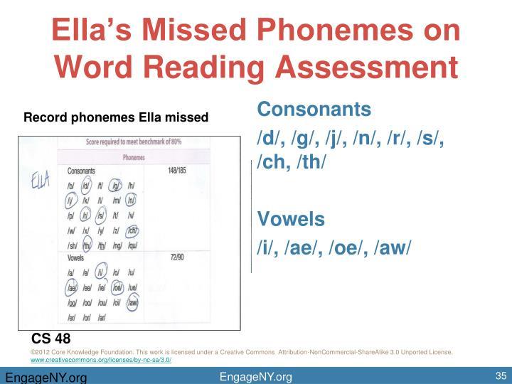 Ella's Missed Phonemes on Word Reading Assessment