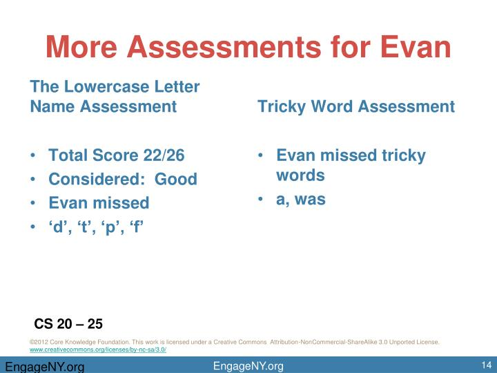 More Assessments for Evan