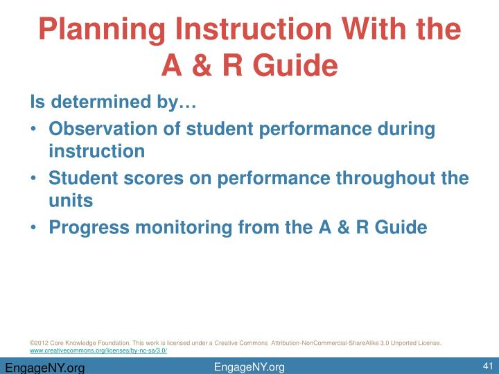 Planning Instruction With the A & R Guide