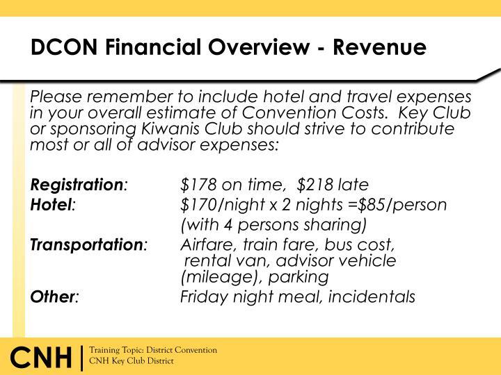 DCON Financial Overview - Revenue