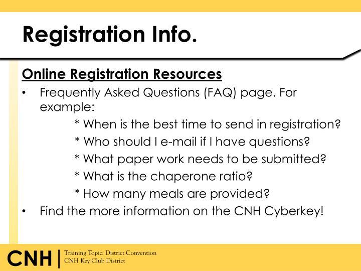 Registration Info.