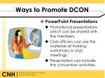 ways to promote dcon1