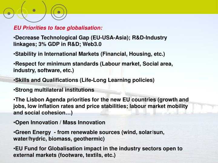 EU Priorities to face globalisation: