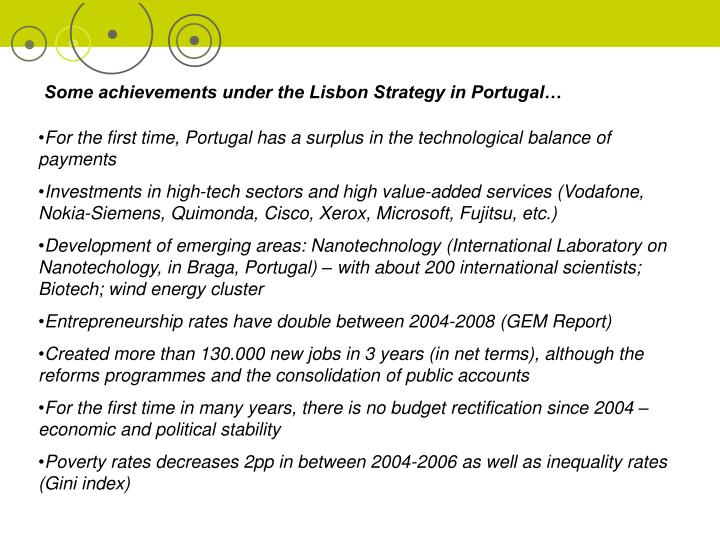 Some achievements under the Lisbon Strategy in Portugal…