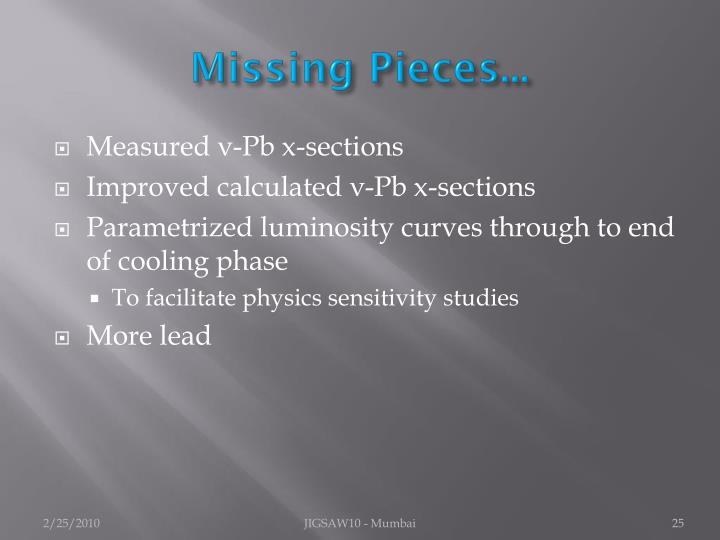 Missing Pieces...
