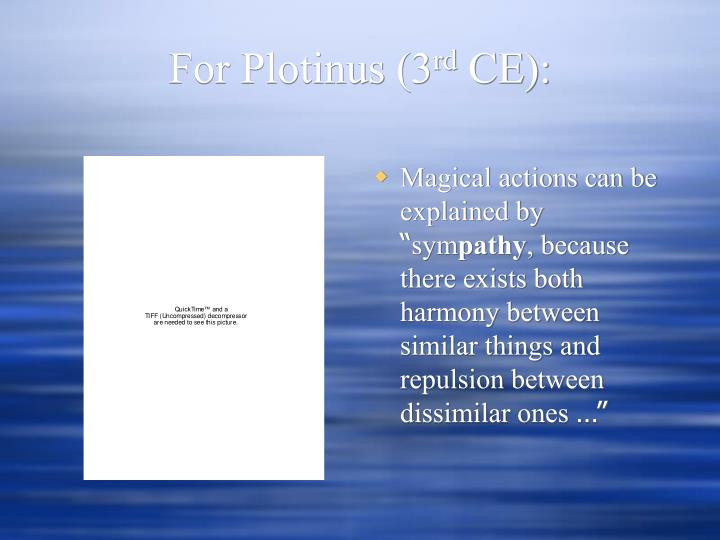 For Plotinus (3