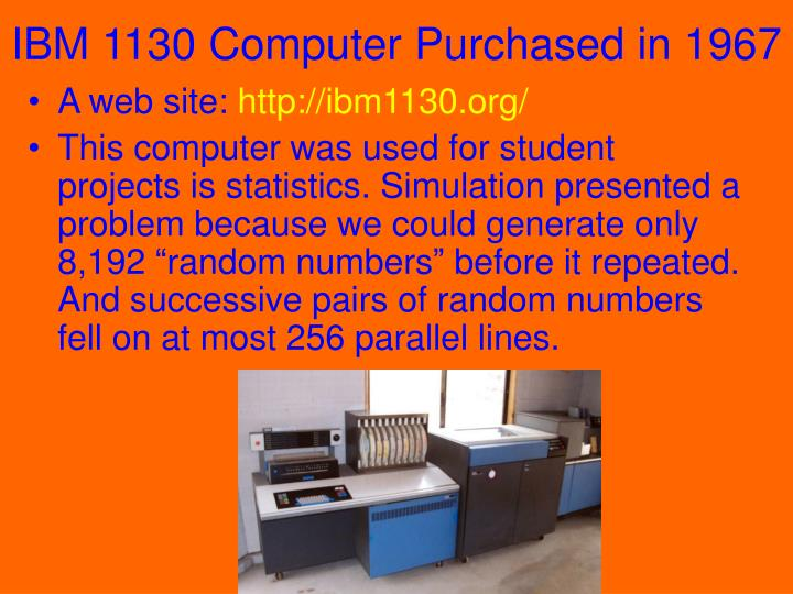 IBM 1130 Computer Purchased in 1967