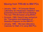 moving from trs 80 to ibm pcs