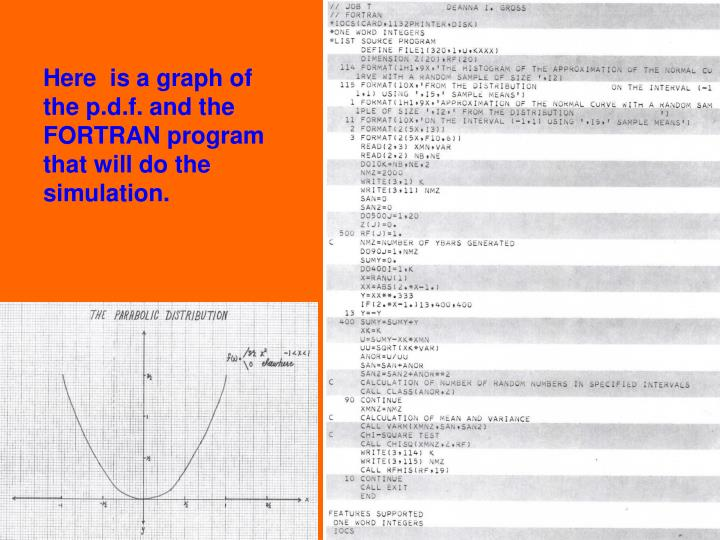 Here  is a graph of the p.d.f. and the FORTRAN program that will do the simulation.