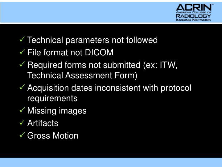 Technical parameters not followed